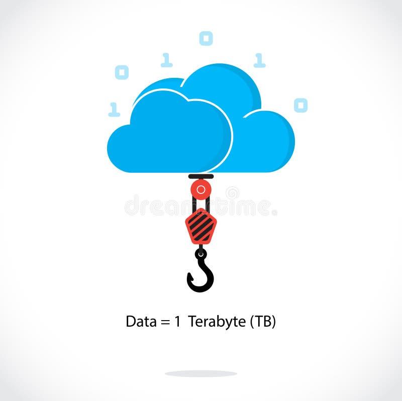 Flat cloud technology computing background concept. Data storage stock illustration