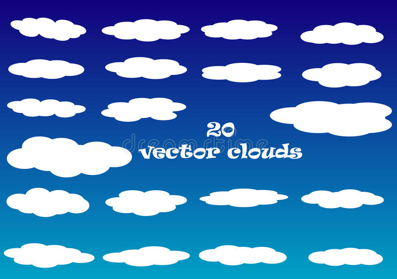 Flat cloud vector icons isolated over blue sky background vector illustration