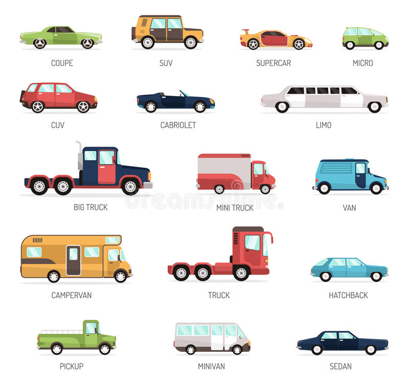 Flat Collection Of Different Car Models. Colorful flat collection of different modern car models in side view with pickup minivan sedan and truck vector royalty free illustration
