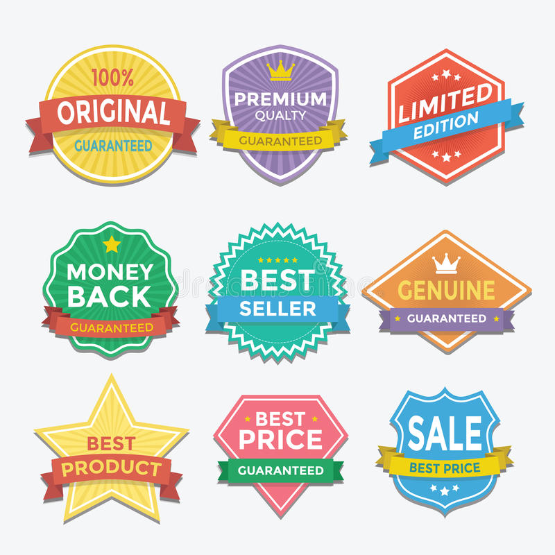 Flat color badges and labels promotion design stock illustration
