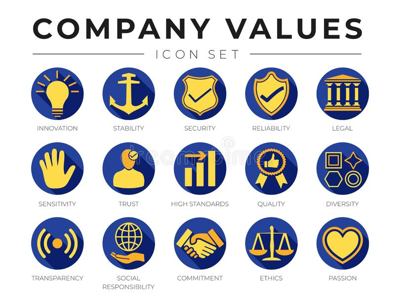 Flat Color Company Core Values icon Set. Innovation, Stability, Security, Reliability, Legal, Sensitivity, Trust, High Standard, royalty free illustration
