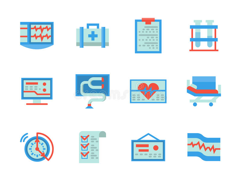 Flat color design healthcare icons. Health care and medical equipment and elements. Cardiology and diagnostics. Heart treatment. Collection of flat style blue royalty free illustration