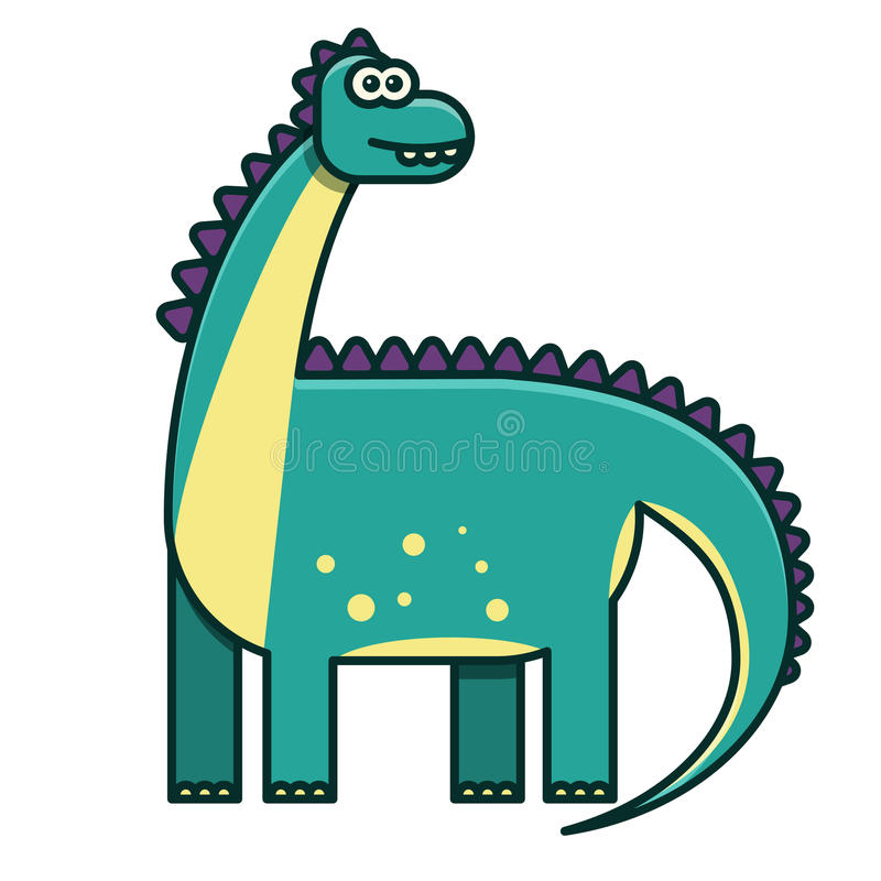 Flat color dinosaur illustration for chidren's book. Flat green dinosaur illustration for chidren's book, diplodocus, line style, cute character royalty free illustration