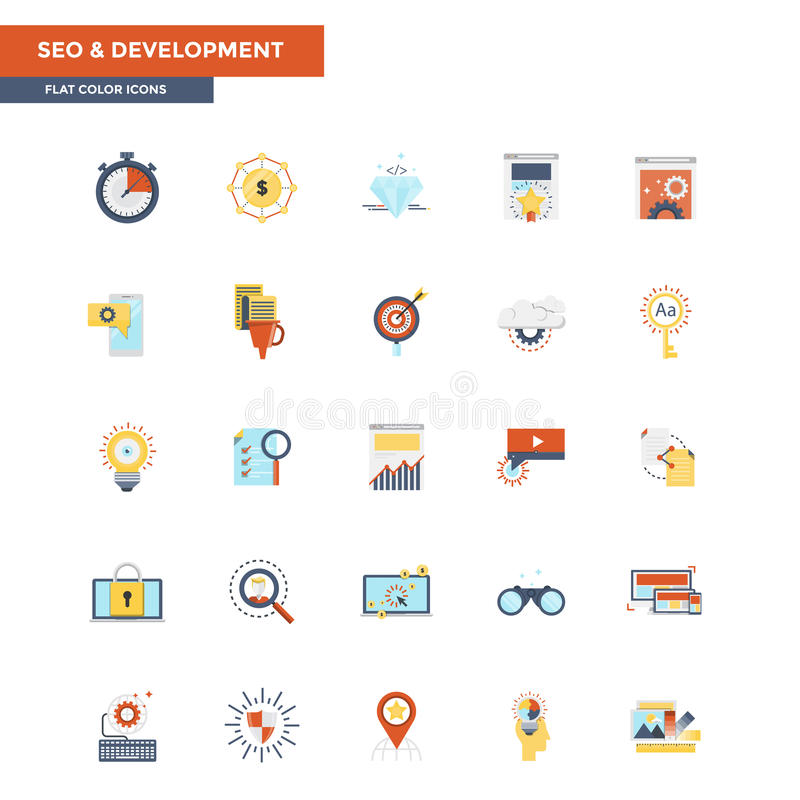 Flat Color Icons- Seo and Development stock illustration