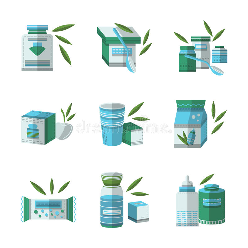 Flat color icons set for baby food stock illustration
