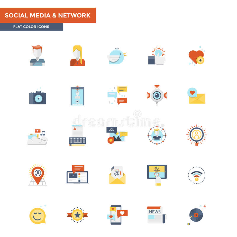 Flat Color Icons- Social Media and Network stock illustration