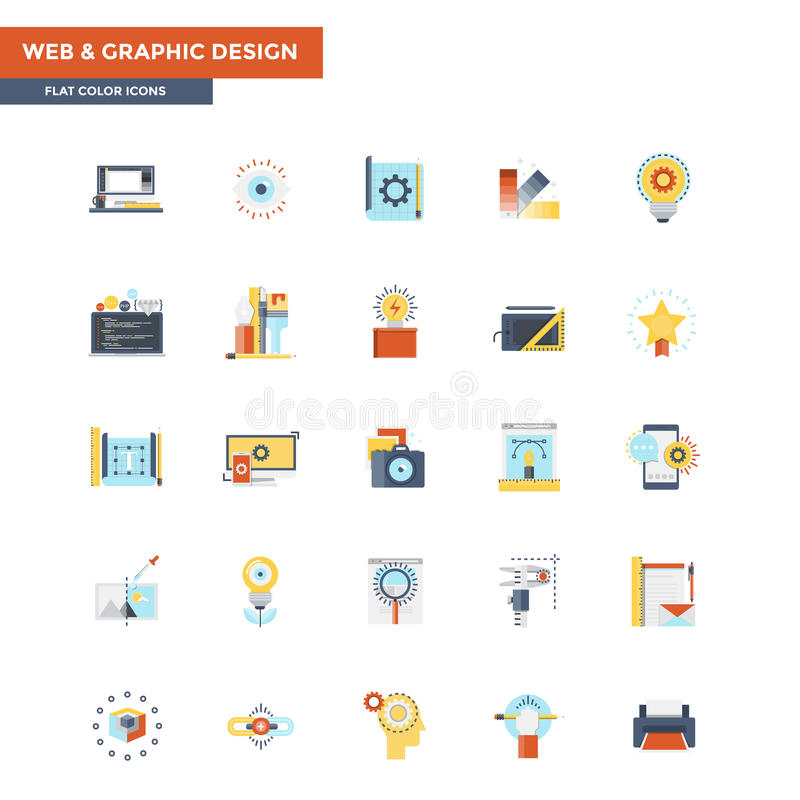 Flat Color Icons- Web and graphic design royalty free illustration