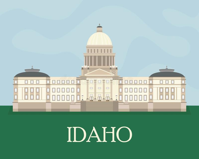 Flat color illustration of the Idaho State Capitol. vector illustration