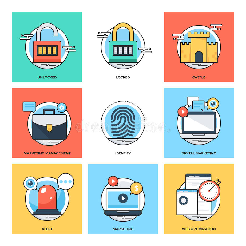Flat Color Line Design Concepts Vector Icons 34 stock illustration