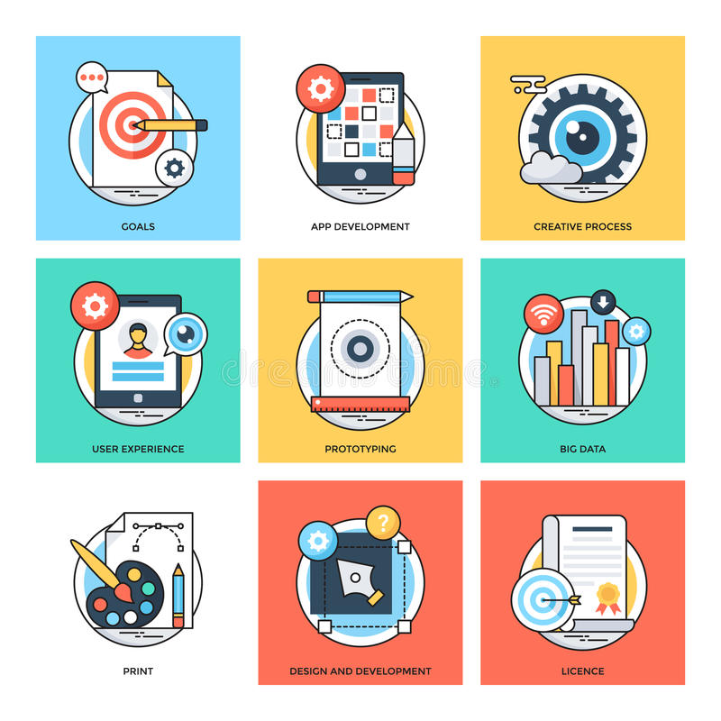 Flat Color Line Design Concepts Vector Icons 25 stock illustration