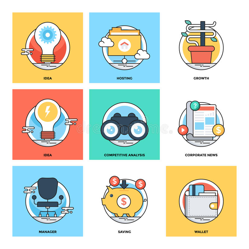 Flat Color Line Design Concepts Vector Icons 15 royalty free illustration