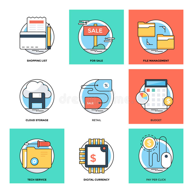 Flat Color Line Design Concepts Vector Icons 21 stock illustration