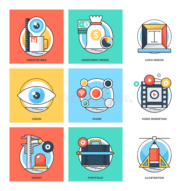 Flat Color Line Design Concepts Vector Icons 24 stock illustration