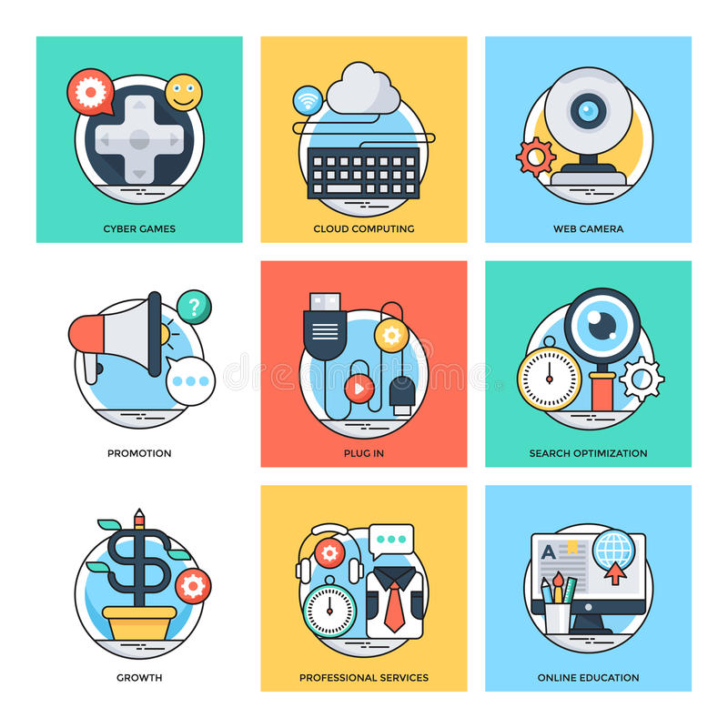 Flat Color Line Design Concepts Vector Icons 28 stock illustration