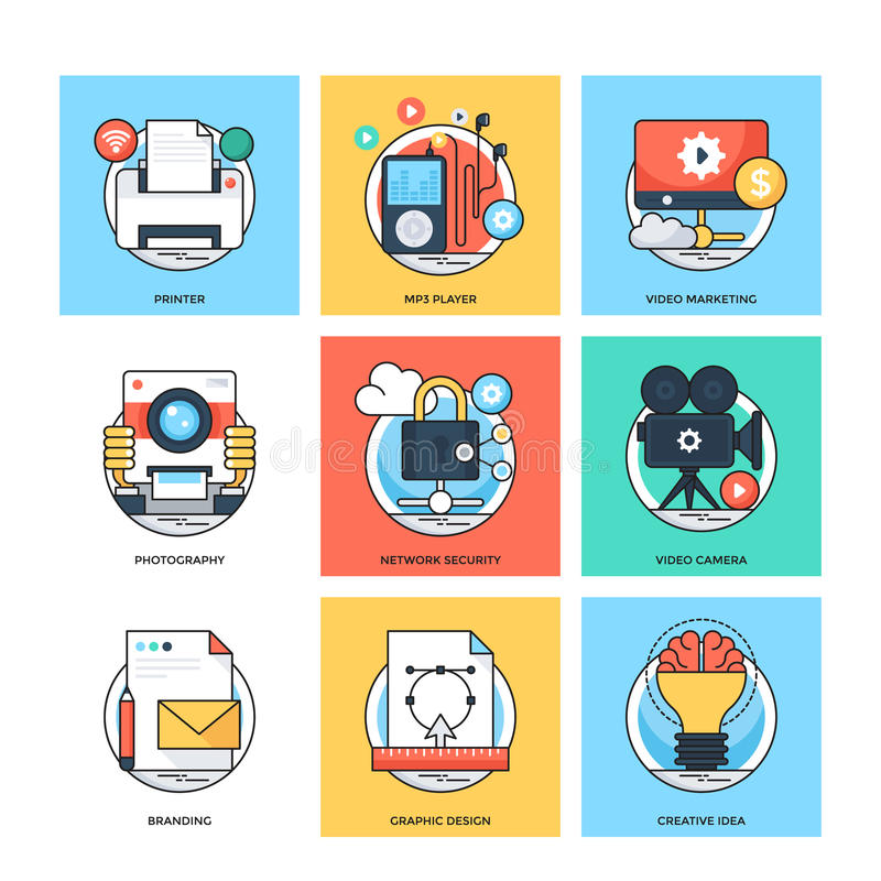 Flat Color Line Design Concepts Vector Icons 32 stock illustration