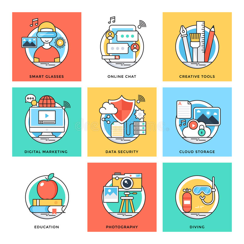 Flat Color Line Design Concepts Vector Icons 1 stock illustration