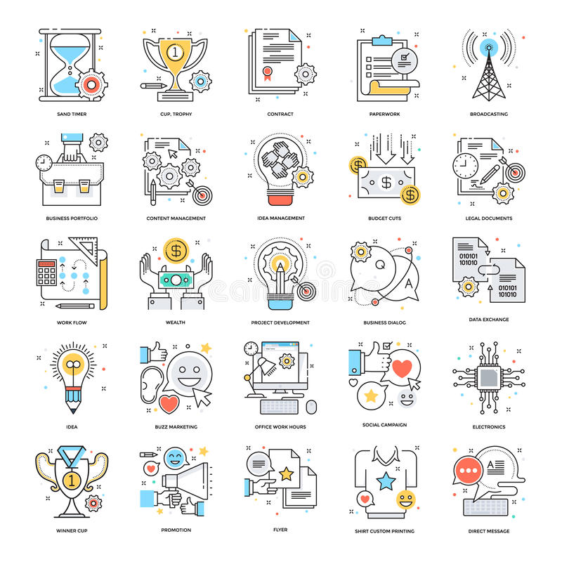 Flat Color Line Icons 3 vector illustration