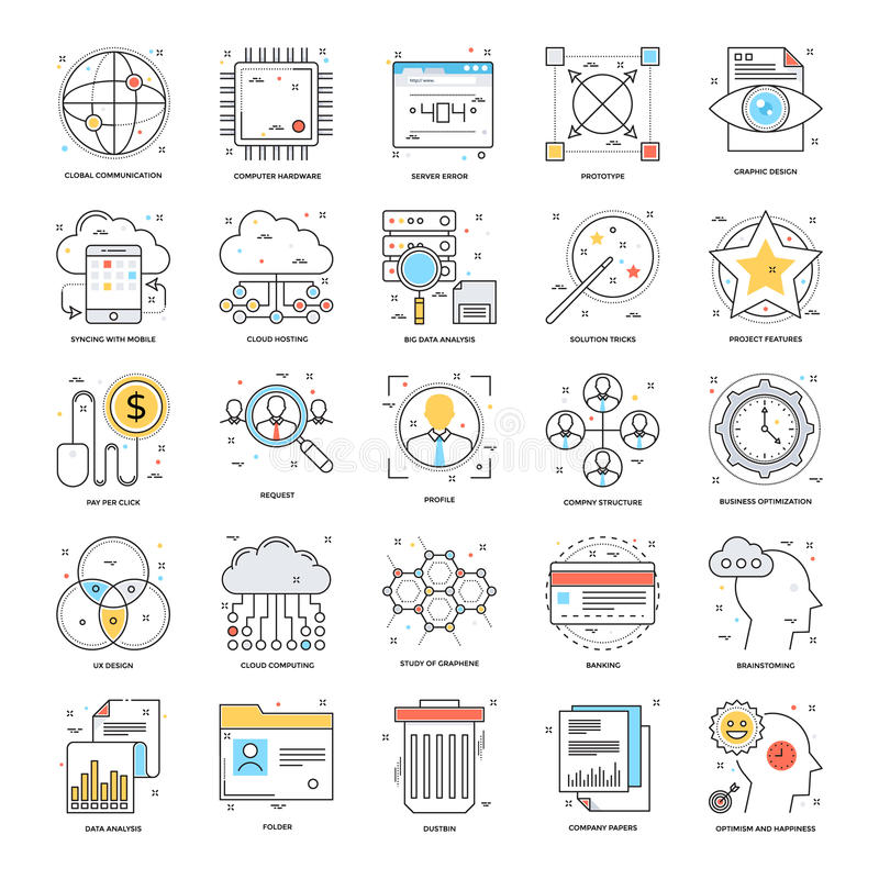 Flat Color Line Icons 18 stock illustration