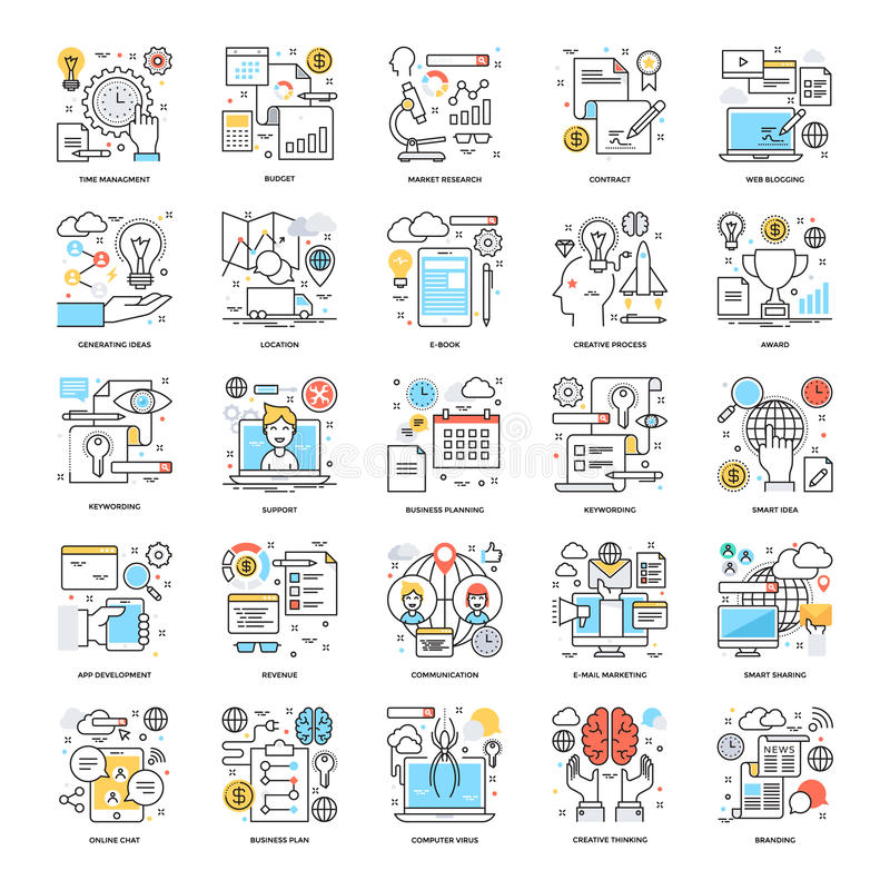 Flat Color Line Icons 16 stock illustration