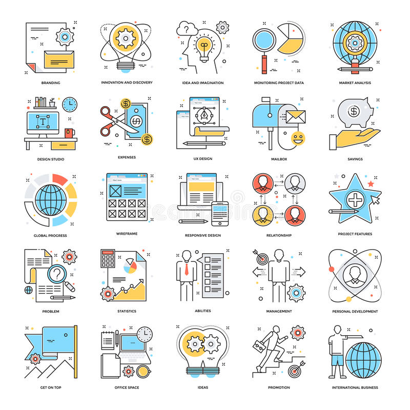 Flat Color Line Icons 6 stock illustration