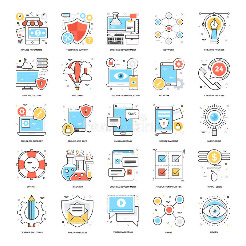 Flat Color Line Icons 1 vector illustration