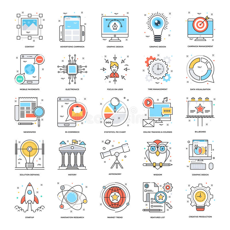 Flat Color Line Icons 2 vector illustration