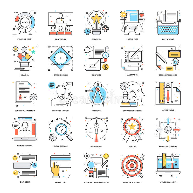 Flat Color Line Icons 7 royalty free illustration