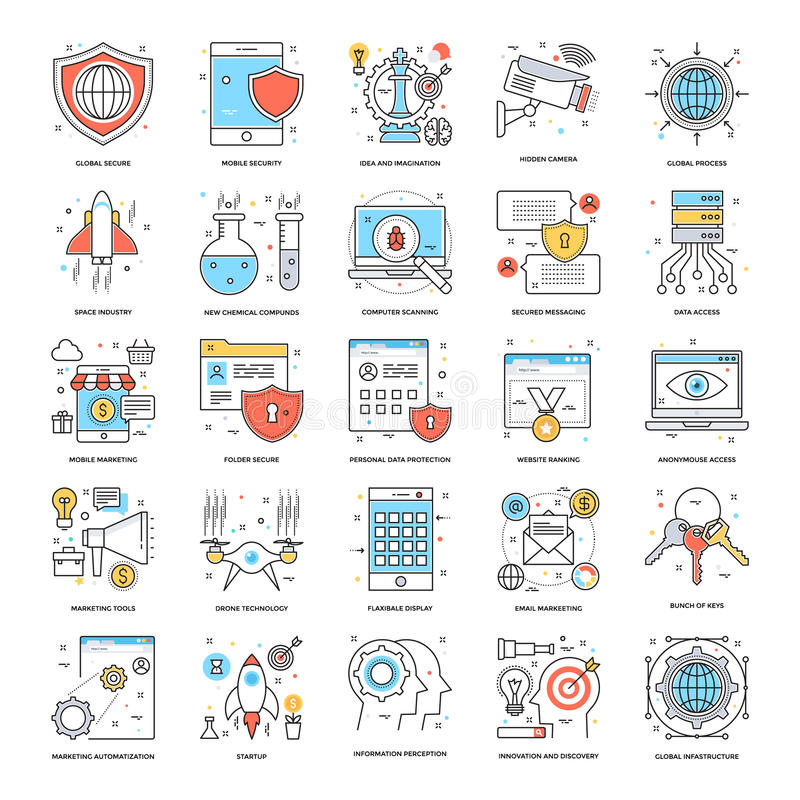 Flat Color Line Icons 9 royalty free illustration
