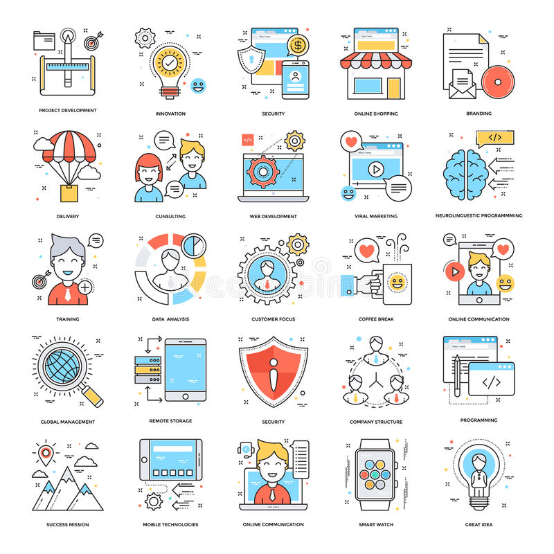 Flat Color Line Icons 12 vector illustration