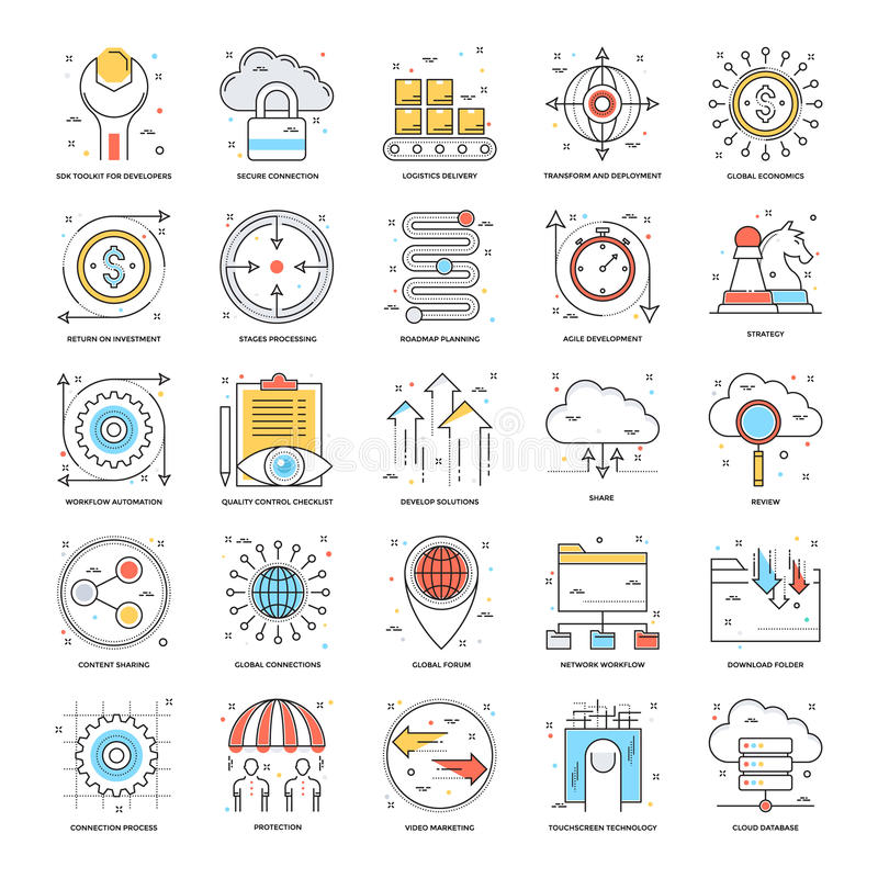 Flat Color Line Icons 17. A collection of Flat Color Line Icons that you can easily integrate in your design and the cool thing is, that there are so many of stock illustration