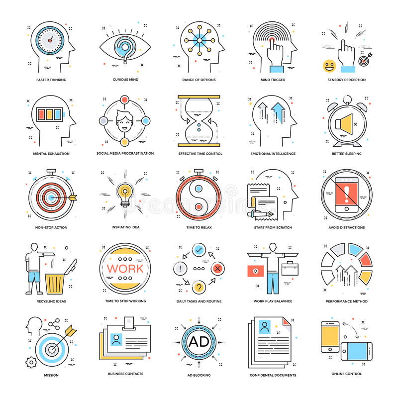 Flat Color Line Icons 21 stock illustration
