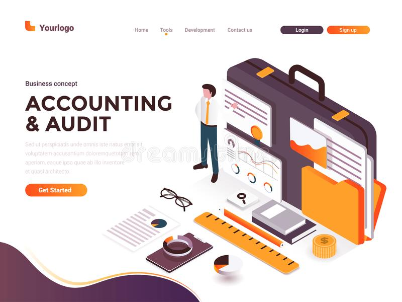 Flat color Modern Isometric Concept Illustration - Accounting and Audit stock illustration