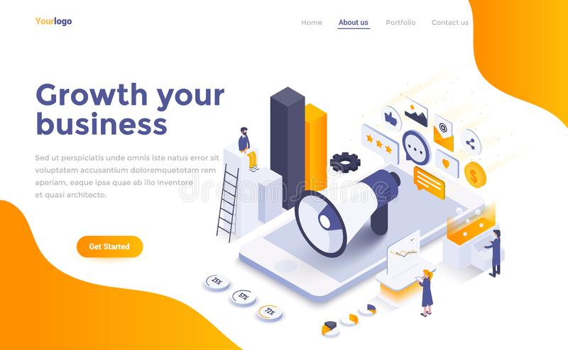 Flat color Modern Isometric Concept Illustration - Growth your b. Modern flat design isometric concept of Growth your business for website and mobile website vector illustration