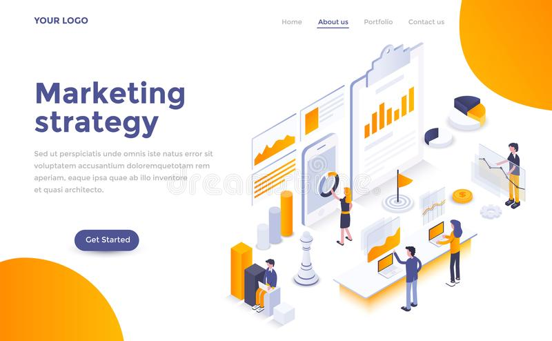 Flat color Modern Isometric Concept Illustration - Marketing strategy stock illustration