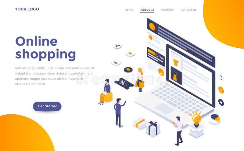 Flat color Modern Isometric Concept Illustration - Online shopping. Modern flat design isometric concept of Online Shopping for website and mobile website