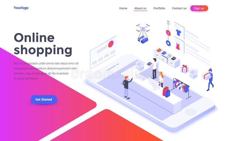 Flat color Modern Isometric Concept Illustration - Online Shopping. Modern flat design isometric concept of Online Shopping for website and mobile website royalty free illustration