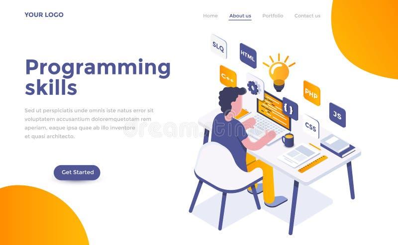 Flat color Modern Isometric Concept Illustration - Programming S. Modern flat design isometric concept of Programming Skills for website and mobile website stock illustration