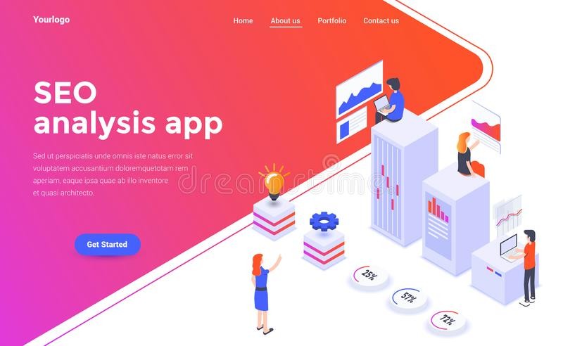 Flat color Modern Isometric Concept Illustration - Seo analysis vector illustration