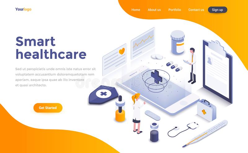 Flat color Modern Isometric Concept Illustration - Smart Healthcare. Modern flat design isometric concept of Smart Healthcare for website and mobile website royalty free illustration