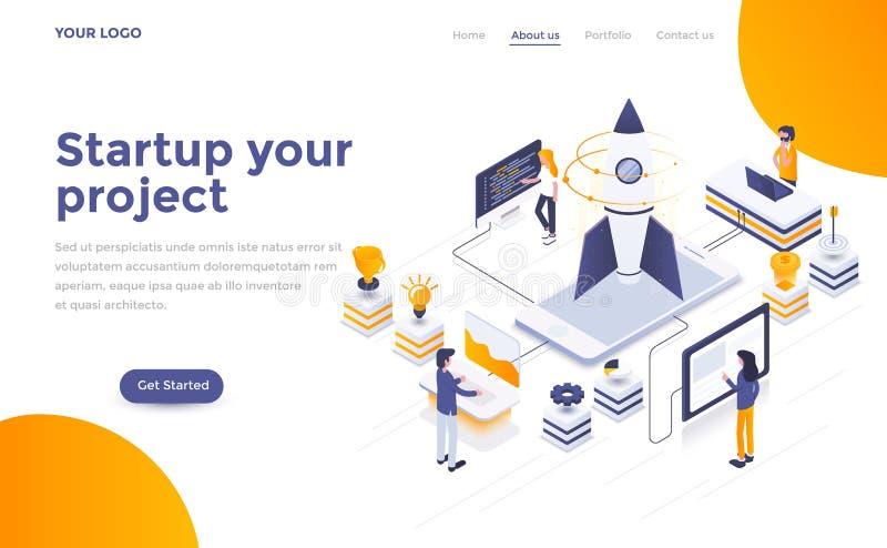 Flat color Modern Isometric Concept Illustration - Startup your vector illustration