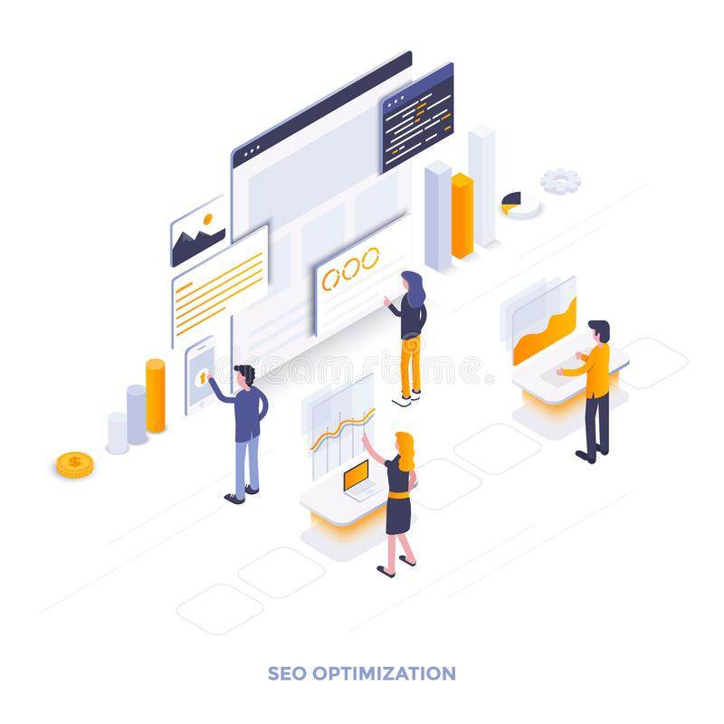 Flat color Modern Isometric Illustration design - Seo optimization. Modern flat design isometric illustration of Seo optimization. Can be used for website and stock illustration