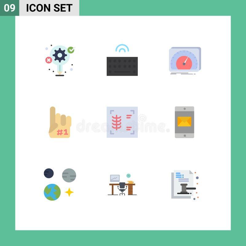 Flat Color Pack of 9 Universal Symbols of chest, foam, dashboard, finger, internet. Set of 9 Commercial Flat Colors pack for chest, foam, dashboard, finger stock illustration