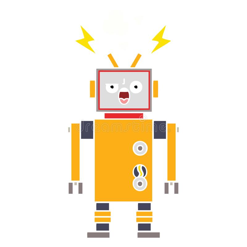 Flat color retro cartoon broken robot. A creative illustrated flat color retro cartoon broken robot stock illustration