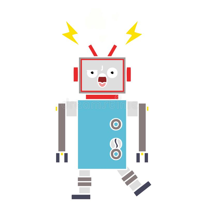 Flat color retro cartoon broken robot. A creative illustrated flat color retro cartoon broken robot royalty free illustration