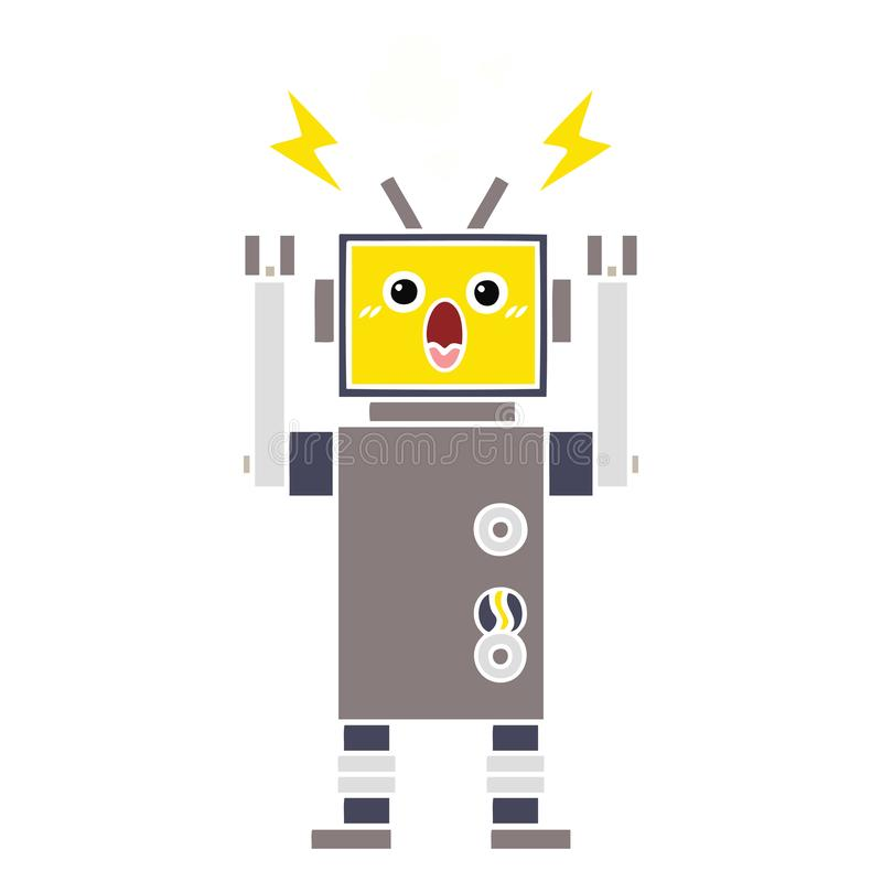 Flat color retro cartoon broken robot. A creative illustrated flat color retro cartoon broken robot vector illustration
