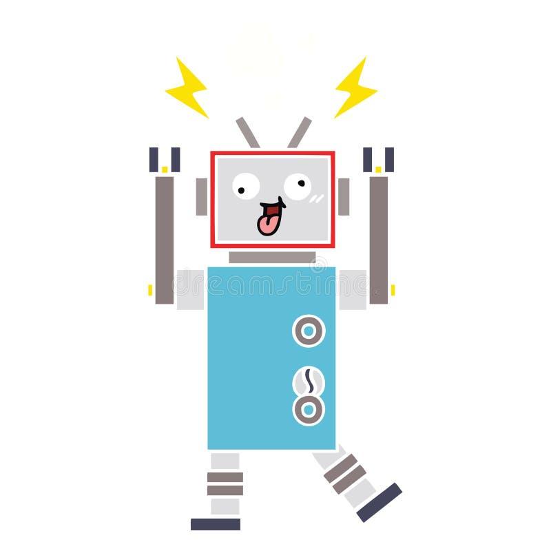 Flat color retro cartoon crazy broken robot. A creative illustrated flat color retro cartoon crazy broken robot royalty free illustration