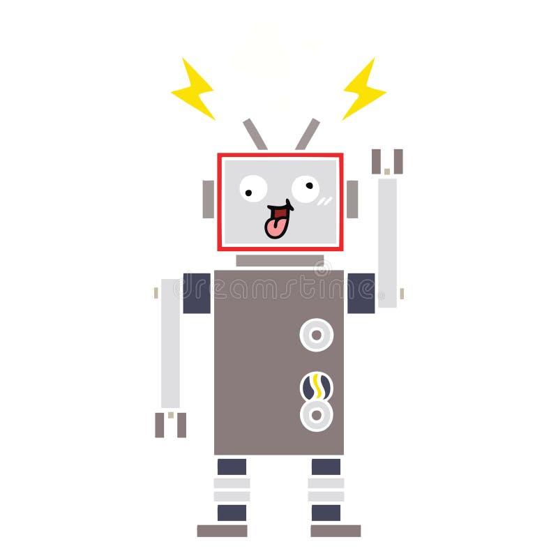 Flat color retro cartoon crazy broken robot. A creative illustrated flat color retro cartoon crazy broken robot stock illustration
