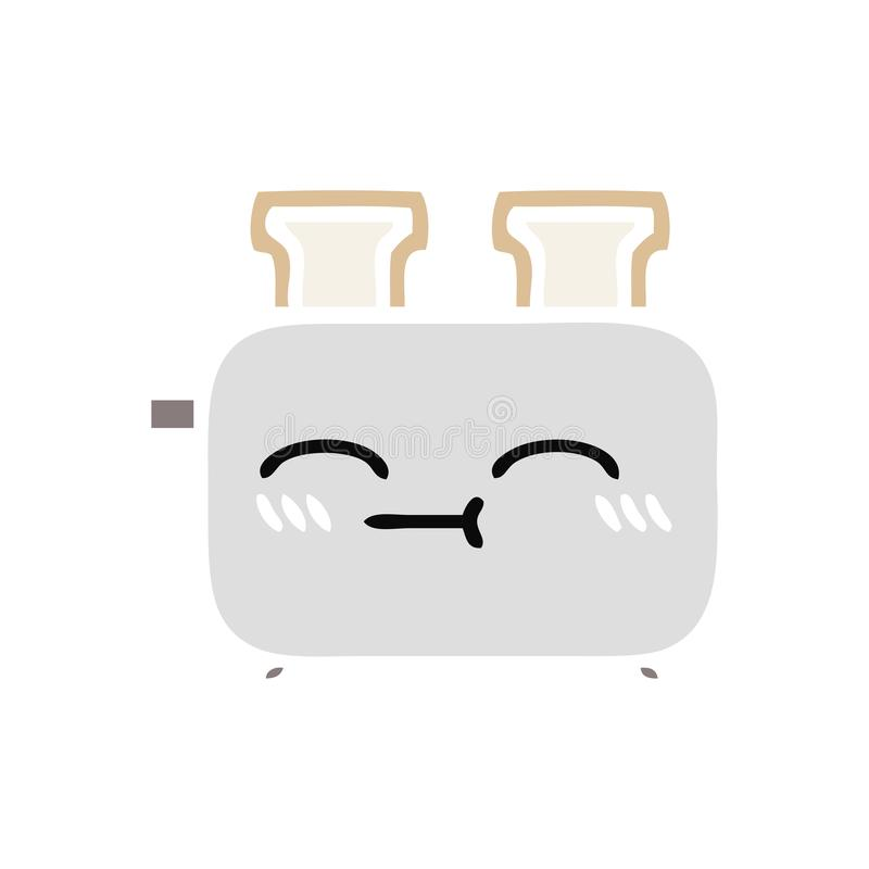 flat color retro cartoon of a of a toaster royalty free illustration