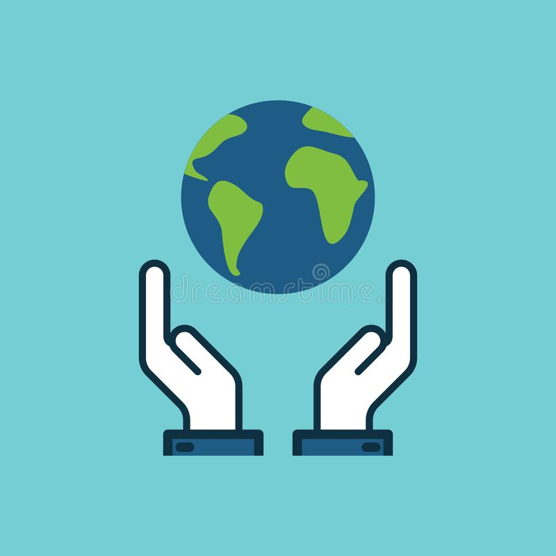 Flat color save world, earth in hands icon. On white background vector illustration