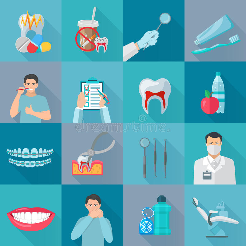 Flat Color Shadow Dental Icons. Set with instruments for teeth treatment and hygiene products vector illustration royalty free illustration